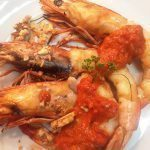 MSC certified banana prawns with walnuts and sujuk spices