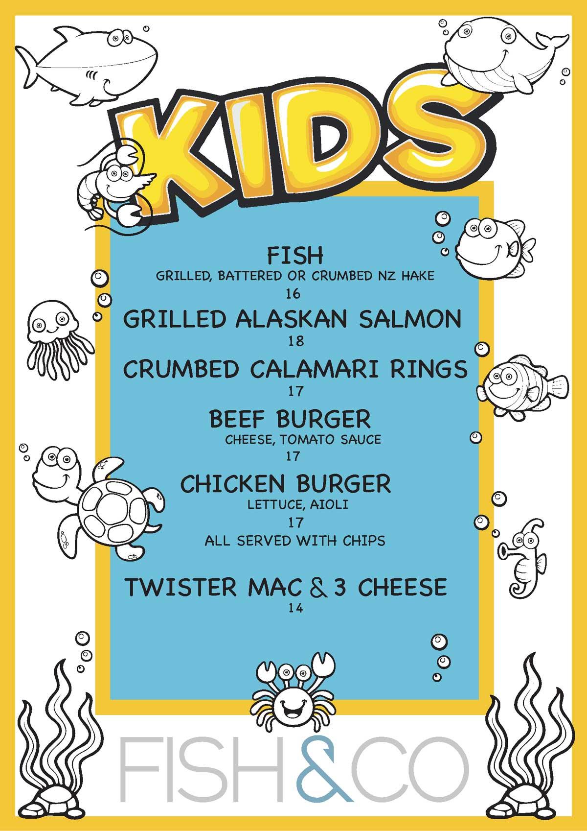 fish and co kids Menu 2021